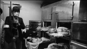 جسد چهار تن از سران حکومت پهلوی که در پشت بام مدرسهی رفاه اعدام شدند: منوچهر خسروداد(بالاچپ)، مهدی رحیمی (بالا راست)، رصا ناجی (پایین چپ)، نعمت الله نصیری (پایین راست)
