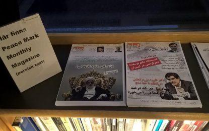 ماهنامهی خط صلح در کتابخانهی مرکزی شهر اسکیلستونا سوئد